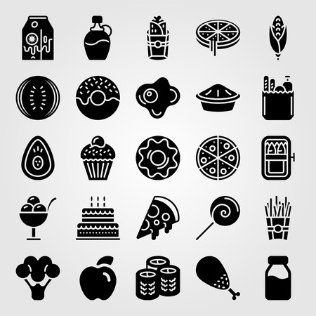 Food and drinks icon set vector. Chicken leg, watermelon, avocado and birthday cake. Çizim
