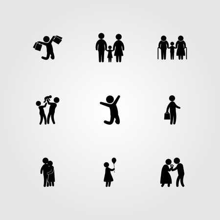 Humans icon set vector. Jumping man, business, woman and love.