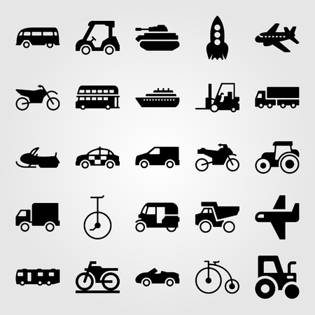 Transport vector icon set. Rocket, airplane, motorcycle and motorbike.