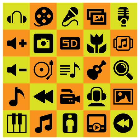 Multimedia icon set vector. Microphone, playlist, musical note and mic.