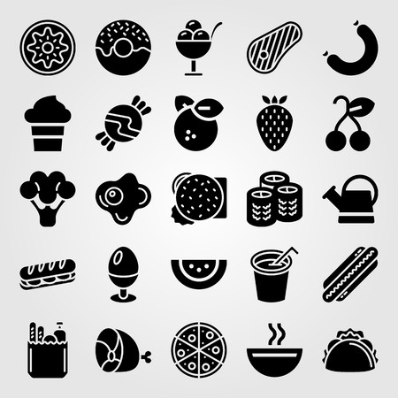 Food and drinks vector icon set. Ice cream, orange, soup and sandwich.