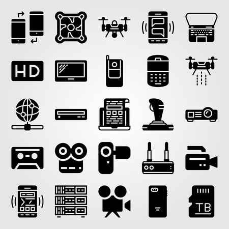 Technology vector icon set. Projector, memory, web and joystick. Çizim