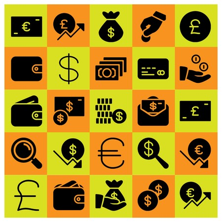 Money icon set vector. Credit card, dollar, money bag and pound sterling.