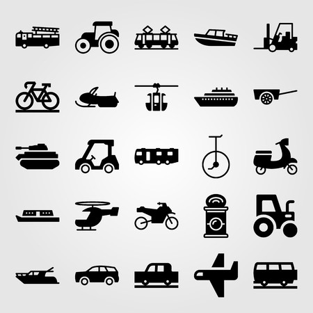 Transport vector icon set. Tank, ship, cart and airplane.