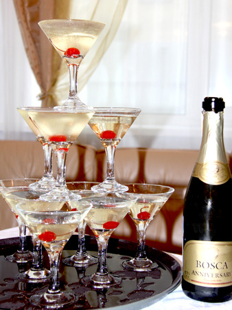 champagne with stacked glasses