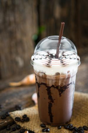 coffee, Iced coffee mocha  on wooden table