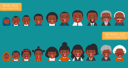 aging american: African american ethnic people generations. People generations avatars icons at different ages - Aging concept of female and male characters, the cycle of life from childhood to old age