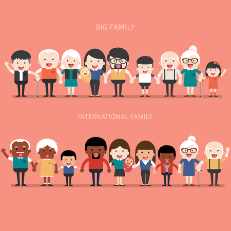Family concept. Big happy Family and international family. Parents with Children. Father, Mother, Children, Grandfather, Grandmother, Siblings, Wife, Husband, Uncle, Aunt Иллюстрация