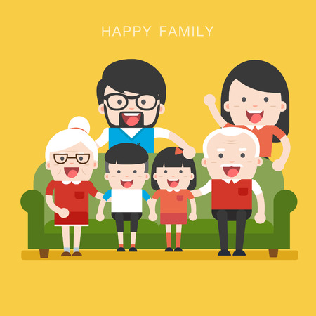 happy couple: Big Family. Happy family whith grandchildrens, parents and grandparents sitting on the sofa