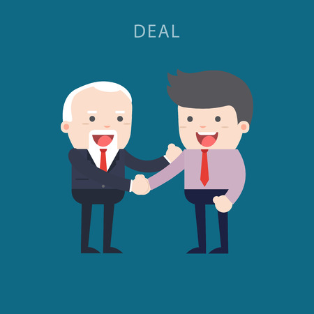 Business people shaking hands. Businessmen making a deal and think about profit. vector illustration