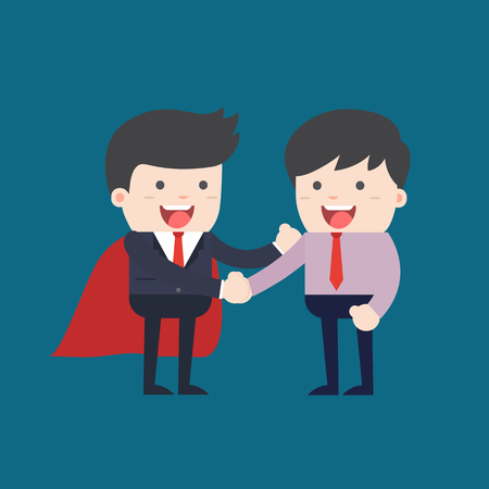 to think about: Business people shaking hands. Businessmen making a deal and think about profit. vector illustration