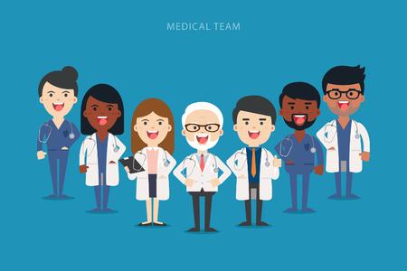 Equipo de médicos y otros trabajadores del hospital de pie juntos. La gente del vector ilustración