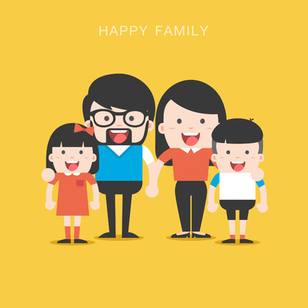 Family concept. Big happy Family and international family. Parents with Children. Father, Mother, Children, Grandfather, Grandmother, Siblings, Wife, Husband, Uncle, Aunt Illustration