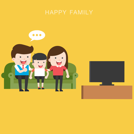 A vector illustration of happy family watching television together