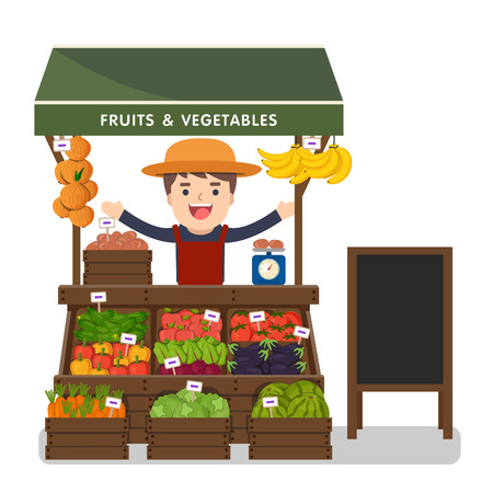 sunblind: Local market farmer selling vegetables produce on his stall with awning. Modern flat style realistic vector illustration isolated on white background.