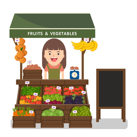 produce: Local market farmer selling vegetables produce on his stall with awning. Modern flat style realistic vector illustration isolated on white background.