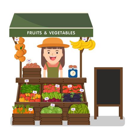mercato locale degli agricoltori che vendono verdure producono sulla sua bancarella con tenda da sole. Moderno stile piatto realistica illustrazione vettoriale isolato su sfondo bianco.