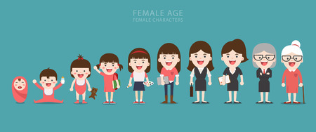 Aging concept of female characters, the cycle of life from childhood to old age Illustration