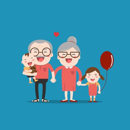 Grandparents and grandchildren. Happy grandparents with their grandchildren taking a walk. Grandparents Day! Illustration
