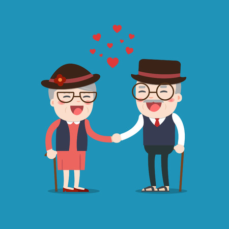 Retired elderly senior age couple in creative flat vector character design | Grandpa and grandma Senior couple in love. Illustration