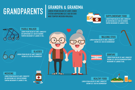 Infographics Retired elderly senior age couple in creative flat vector character design | Grandpa and grandma standing full length smiling Stock Illustratie