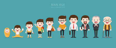 Aging concept of male characters, the cycle of life from childhood to old age Ilustracja