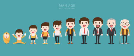 Aging concept of male characters, the cycle of life from childhood to old age Иллюстрация