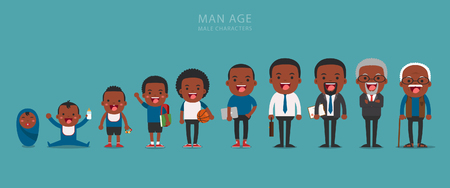 maturity: African american ethnic people generations at different ages. Aging concept of male characters, the cycle of life from childhood to old age Illustration