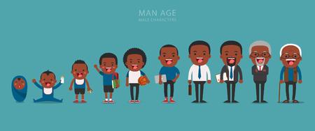 African American personas generaciones étnicas en las diferentes edades. Envejecimiento concepto de personajes masculinos, el ciclo de la vida desde la infancia hasta la vejez