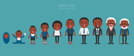African American personas generaciones étnicas en las diferentes edades. Envejecimiento concepto de personajes masculinos, el ciclo de la vida desde la infancia hasta la vejez Ilustración de vector