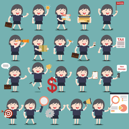 set of business woman activities vector