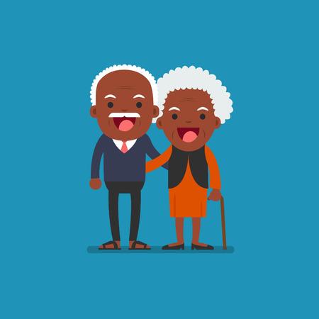 African american people - Retired elderly senior age couple in creative flat vector character design | Grandpa and grandma standing full length smiling Vetores