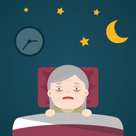 Insomnia, sleeplessness, old woman, grandma Иллюстрация