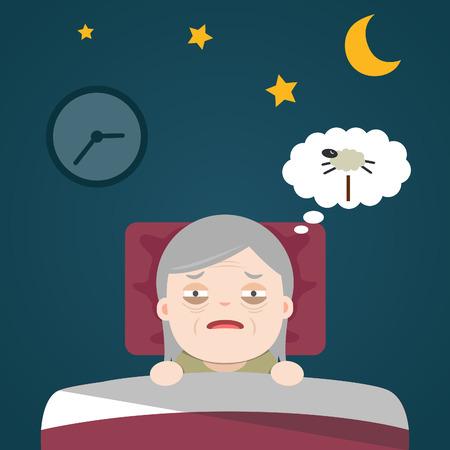 retired: Insomnia, sleeplessness, old woman, grandma Illustration