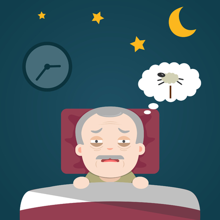 get tired: Insomnia, sleeplessness, old man, grandpa