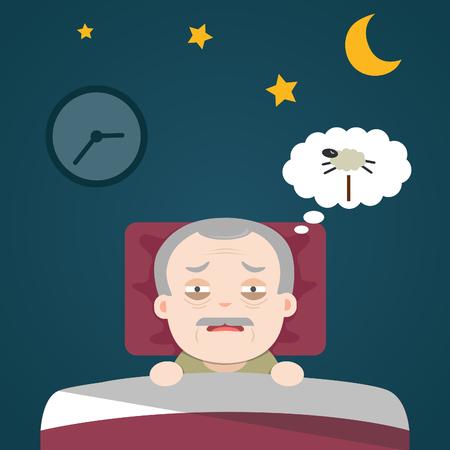 Insomnia, sleeplessness, old man, grandpa
