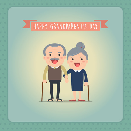 grandchildren: Grandparents and grandchildren. Happy grandparents with their grandchildren taking a walk. Grandparents Day! Illustration