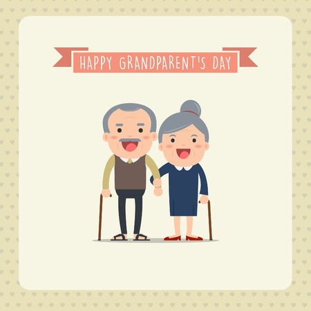everlasting: Grandparents and grandchildren. Happy grandparents with their grandchildren taking a walk. Grandparents Day! Illustration
