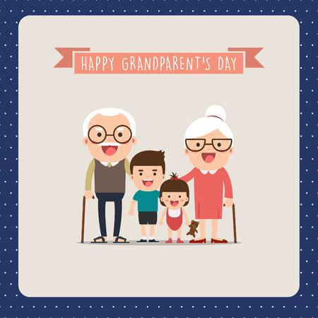 Grandparents and grandchildren. Happy grandparents with their grandchildren taking a walk. Grandparents Day! Иллюстрация
