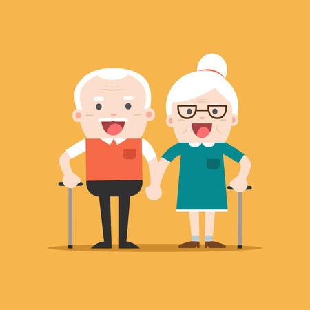 Retired elderly senior age couple in creative flat vector character design | Grandpa and grandma standing full length smiling Stock Vector - 65196243