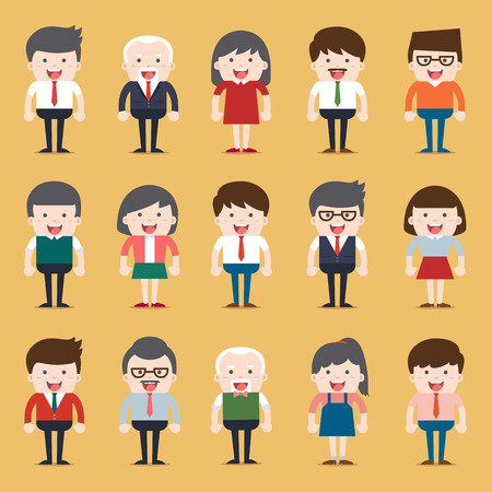 nationality: Set of diverse business people. Different and dress styles. Character set with flat design style. Illustration