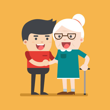 Illustration of young volunteer man caring for elderly woman. Man helping and supporting old aged female. Vector flat design. Social concept caring for seniors