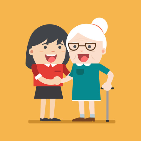old aged: Illustration of young volunteer woman caring for elderly woman. woman helping and supporting old aged female. Vector flat design. Social concept caring for seniors