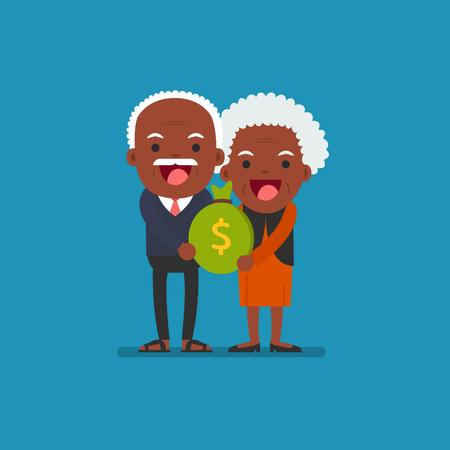 Senior people carrying retirement savings bag Illustration