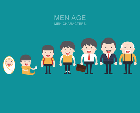 Generations man. People generations at different ages. All age categories - infancy, childhood, adolescence, youth, maturity, old age. Stages of development. Ilustração