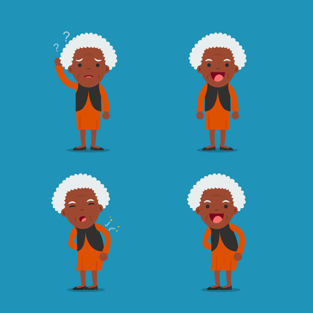 African american people, Old lady. Grandma in 4 Different Poses. Vector isolated illustration. Cartoon character. Illustration