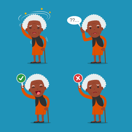 bald woman: African american people, Old lady. Grandma in 4 Different Poses. Vector isolated illustration. Cartoon character. Illustration