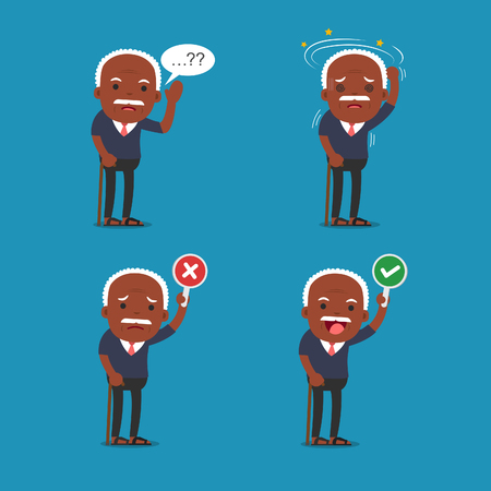African american people - Old man. Grandpa in 4 Different Poses. Vector isolated illustration. Cartoon character. Illustration