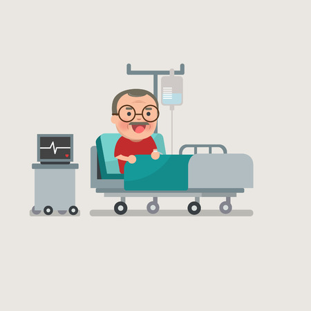 recovering: old man resting at hospital bed with intravenous saline solution