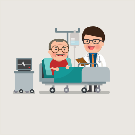 vieil homme de repos au lit d'hôpital avec une solution saline par voie intraveineuse